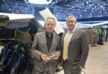 Egidio Reali with Horacio Pagani @Geneva 2016 with Huayra BC 1:43 model.