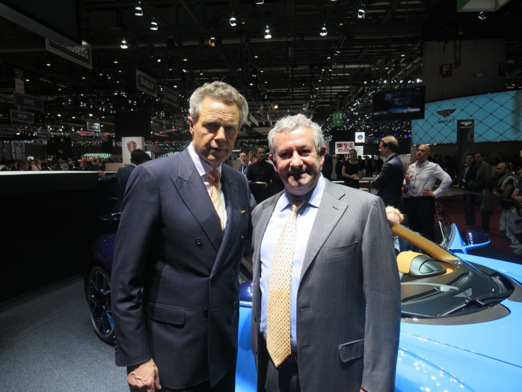 Wolfgang Dürheimer, CEO of Bugatti and Bentley, with Egidio Reali in front of the new Bugatti Chiron.