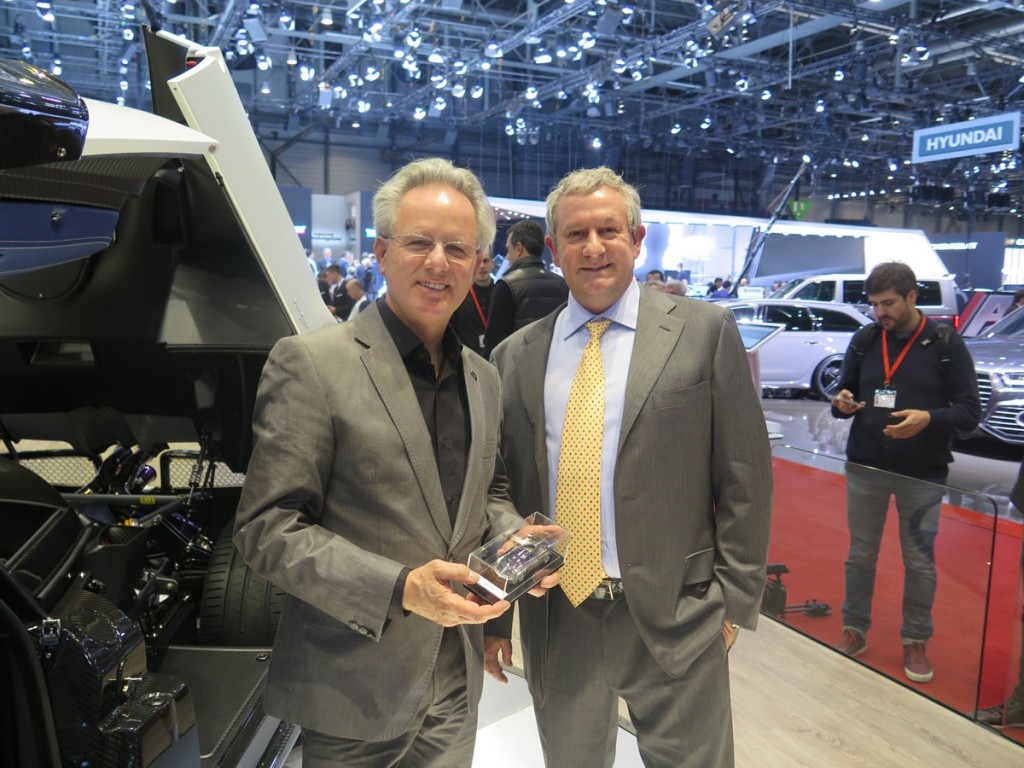 Egidio Reali, MR Collection CEO and founder, with Horacio Pagani, CEO and designer of Pagani Huayra BC.
