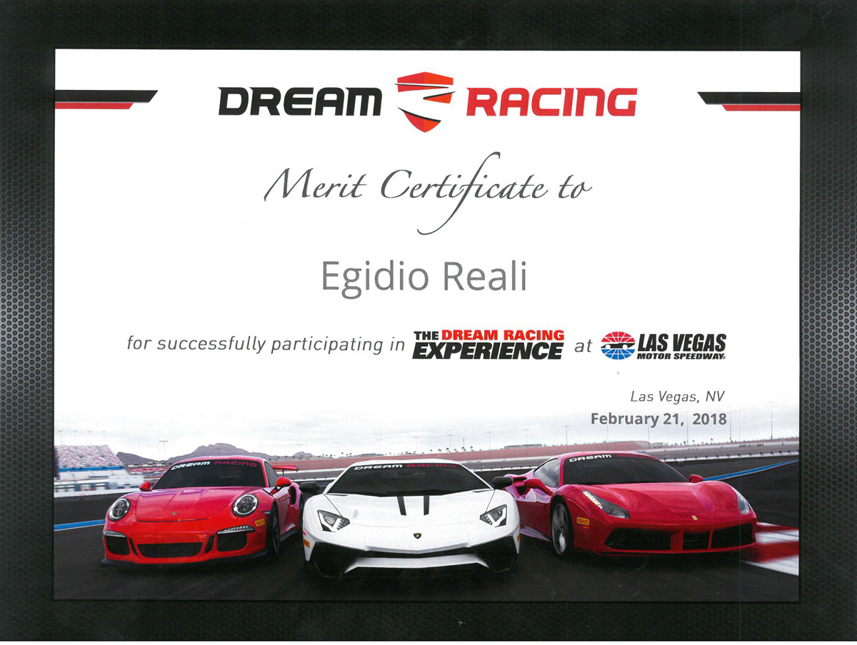 egidio reali dream racing merit certificate